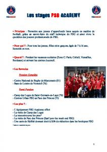 Les stages PSG ACADEMY ACADEMY
