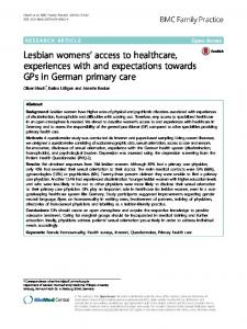 Lesbian womens' access to healthcare ... - Semantic Scholar