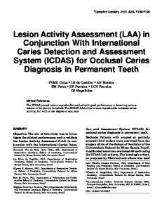 Lesion Activity Assessment - Operative Dentistry