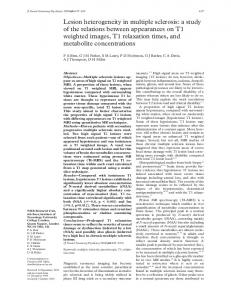 Lesion heterogeneity in multiple sclerosis: a study of ... - Europe PMC