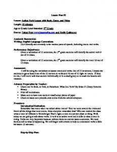 Lesson Plan #2 Lesson: Action Verb Lesson with Book, Game, and ...