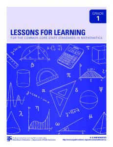 LESSONS FOR LEARNING - NC Math Common Core