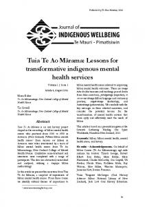 Lessons for transformative indigenous mental health services