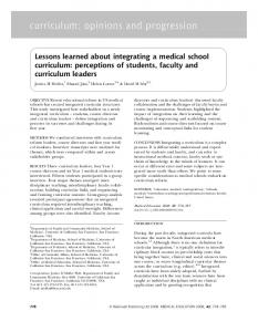 Lessons learned about integrating a medical school curriculum ...