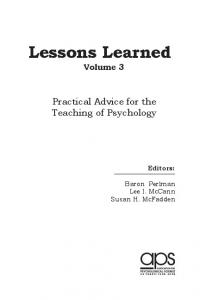 Lessons Learned - Association for Psychological Science