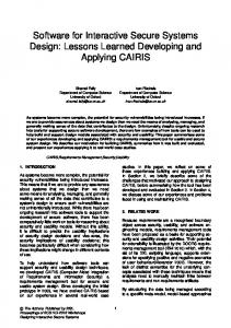 Lessons Learned Developing and Applying CAIRIS - Semantic Scholar
