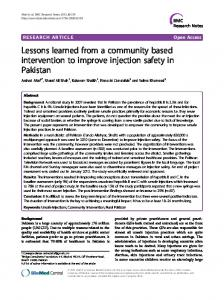 Lessons learned from a community based intervention to improve ...