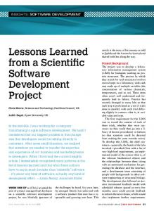Lessons Learned from a Scienti c Software Development Project