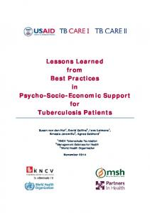 Lessons Learned from Best Practices in Psycho-Socio ... - Challenge TB