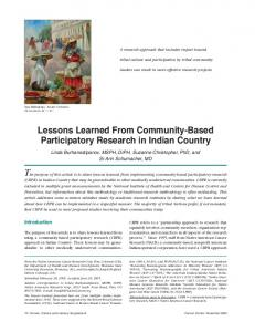 Lessons Learned From Community-Based Participatory Research in ...