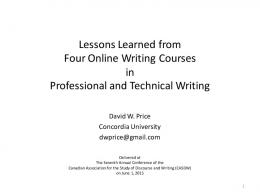 Lessons Learned from Four Online Writing Courses in Professional ...