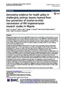 lessons learned from four prevention of mother-to-child transmiss