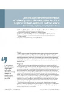 Lessons learned from implementation of nationally