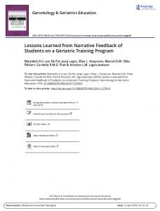 Lessons Learned from Narrative Feedback of ...