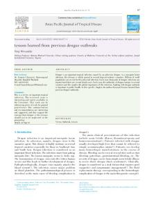 Lessons learned from previous dengue outbreaks - ScienceDirect.com