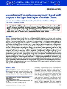 Lessons learned from scaling up a community-based health program ...