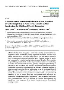 Lessons Learned from the Implementation of a Provincial ... - MDPI