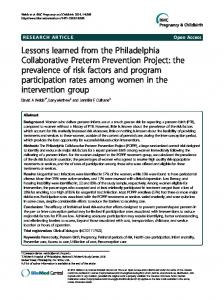 Lessons learned from the Philadelphia Collaborative Preterm ...