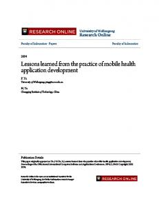 Lessons learned from the practice of mobile health application ...