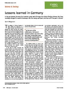 Lessons learned in Germany - Semantic Scholar
