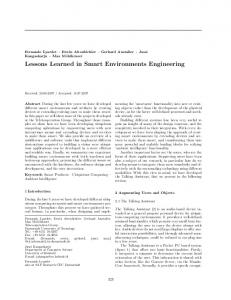 Lessons Learned in Smart Environments ... - Semantic Scholar