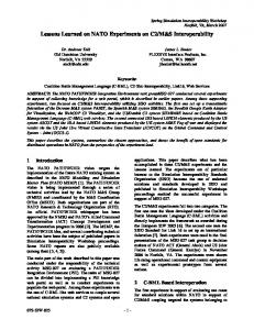 Lessons Learned on NATO Experiments on C2 ... - Semantic Scholar