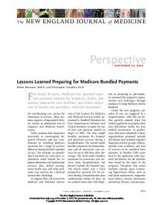 Lessons Learned Preparing for Medicare Bundled ...