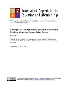 Lessons Learned While Teaching a Semester-Length Online Course