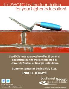 Let SWGTC lay the foundation for your higher education!