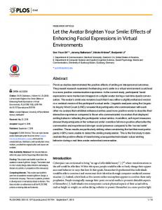 Let the Avatar Brighten Your Smile: Effects of