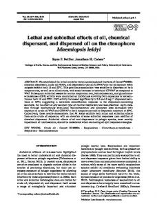 Lethal and sublethal effects of oil, chemical ... - Inter Research