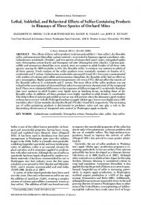 Lethal, Sublethal, and Behavioral Effects of Sulfur-Containing ...