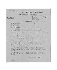 Letter from Isidore Hershfield to Mr. Herman Lubetkin - JDC - Archives