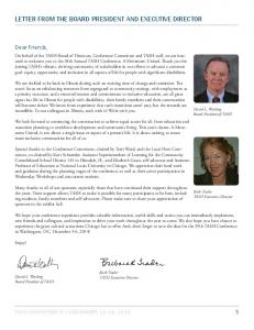 LETTER FROM THE BOARD PRESIDENT AND EXECUTIVE ...