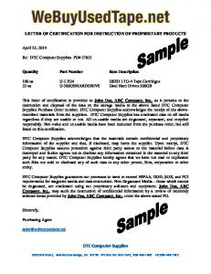 LETTER OF CERTIFICATION FOR DESTRUCTION OF ...