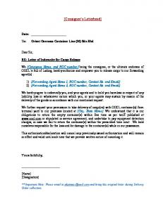 Letter of undertaking and indemnity mafiadoc letter of indemnity for cargo release thecheapjerseys Gallery