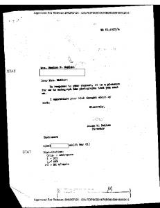 LETTER TO MRS. MARION D. MOHLER FROM ALLEN ... - CIA FOIA