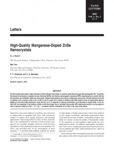 Letters High-Quality Manganese-Doped ZnSe Nanocrystals