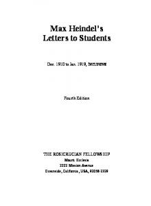 Letters To Students - The Rosicrucian Fellowship