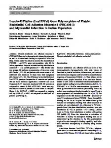 (Leu125Val) Gene Polymorphism of Platelet Endothelial Cell ...