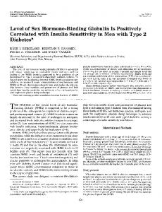 Level of Sex Hormone-Binding Globulin Is Positively Correlated with ...