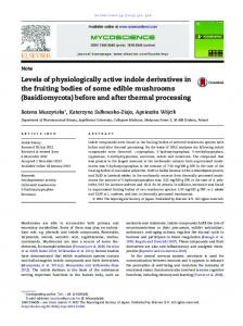 Levels of physiologically active indole derivatives in ...
