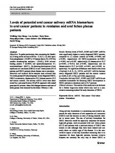 Levels of potential oral cancer salivary mRNA biomarkers in oral ...