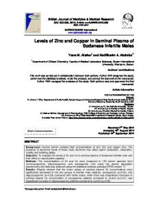 Levels of Zinc and Copper in Seminal Plasma of ... - Journal Repository