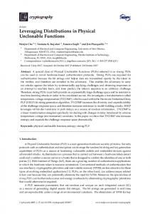 Leveraging Distributions in Physical Unclonable Functions - MDPI