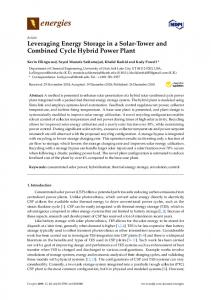 Leveraging Energy Storage in a Solar-Tower and Combined ... - MDPI