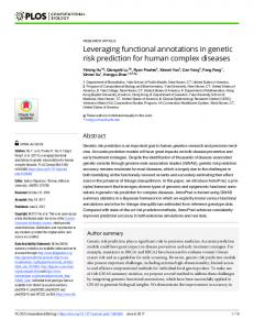 Leveraging functional annotations in genetic risk prediction for ... - PLOS