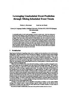 Leveraging Unscheduled Event Prediction through ...