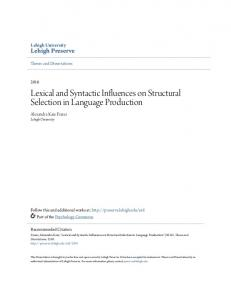 Lexical and Syntactic Influences on Structural ... - Lehigh Preserve