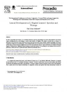 Lexical Development in L2 English Learners ... - CyberLeninka